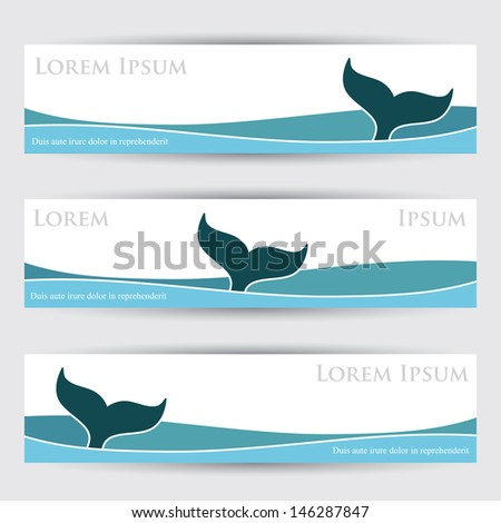 Whale banners - vector illustration - stock vector