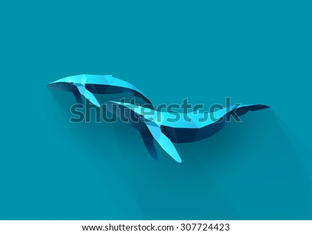 whale family, polygon illustration - stock vector