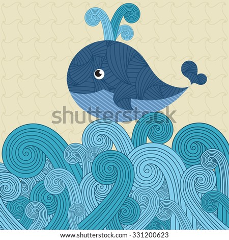 whale on the waves - stock vector