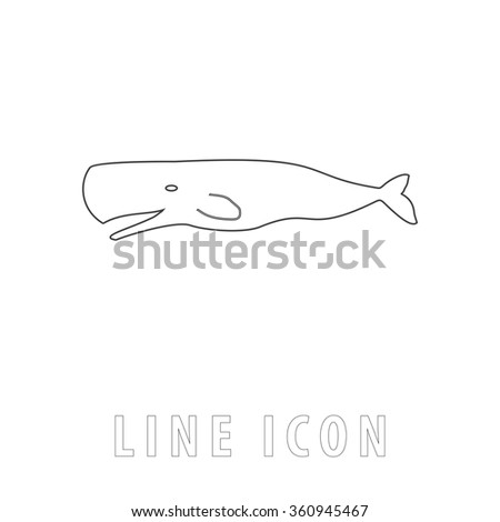 whale Outline simple vector icon on white background. Line pictogram with text  - stock vector