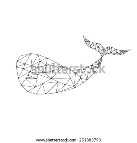 whale polygonal vector illustration - stock vector