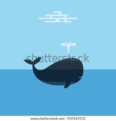 Whale Spraying Water. Concept of Marine Conservation. - stock vector