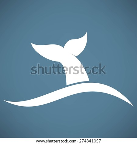 whale tail icon - stock vector
