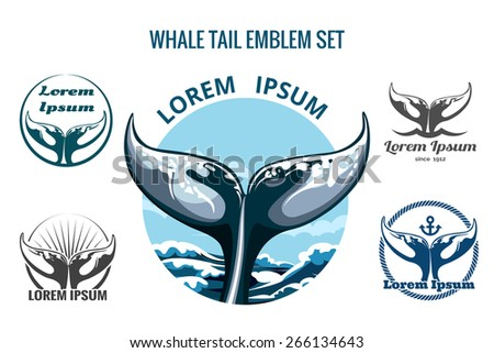 Whale tail logo or emblem set. Only free font used. Isolated on white background. - stock vector