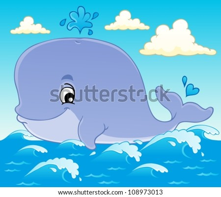 Whale theme image 1 - vector illustration. - stock vector
