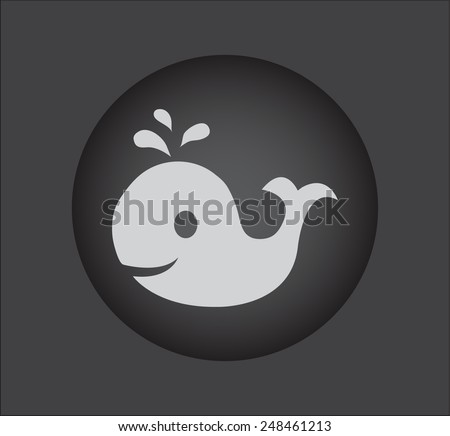 whale, vector icon on black button - stock vector