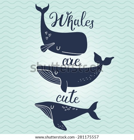 Whales are cute. Awesome whales on marine background with waves in vector. Lovely childish card in stylish colors - stock vector
