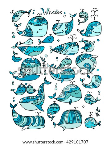 Whales collection, sketch for your design - stock vector