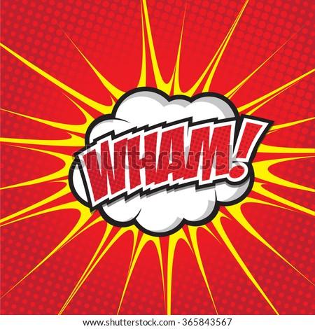 WHAM! wording sound effect set design for comic background, comic strip - stock vector