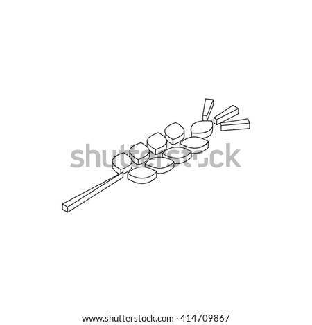 Wheat ear icon, isometric 3d style  - stock vector