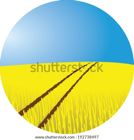 wheat field vector illustration with tractor tracks and blue sky - stock vector