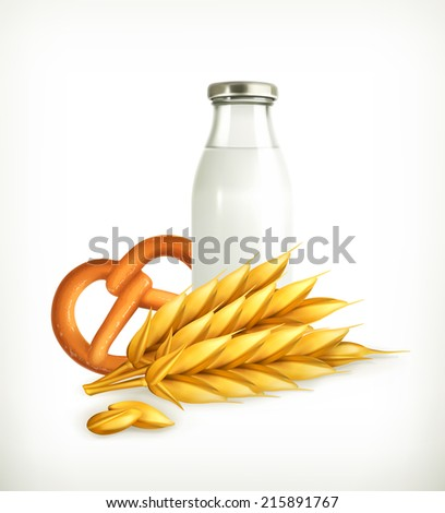 Wheat, milk and bread, isolated vector illustration - stock vector
