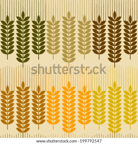 wheat row seamless pattern - stock vector