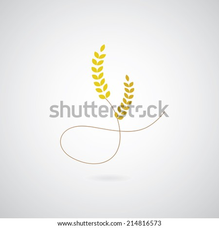 wheat symbol on gray background  - stock vector