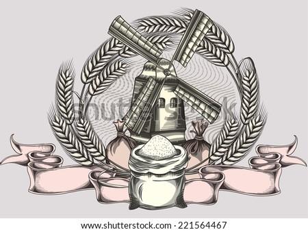 Wheat & windmill emblem - stock vector