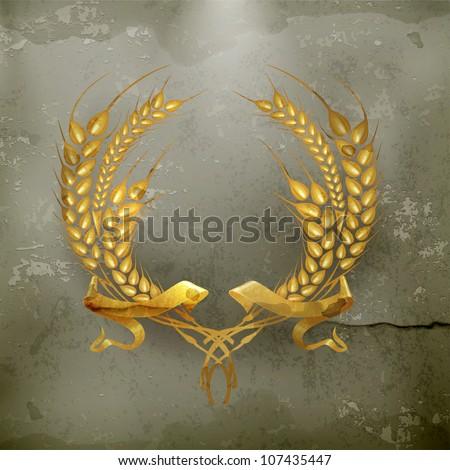 Wheat wreath, old-style vector - stock vector
