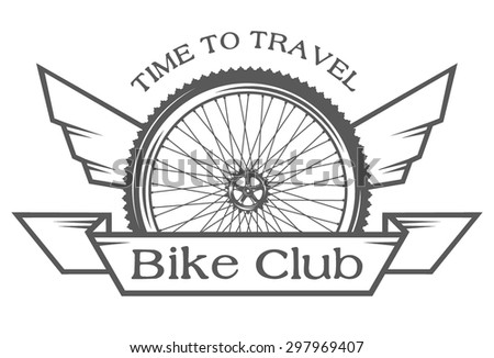 Wheel and wings. The emblem on the theme of cycling club. - stock vector