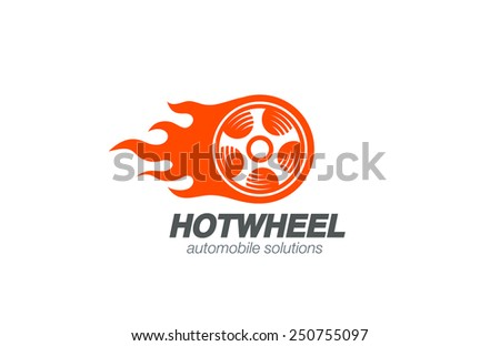 Wheel in Fire flame Logo design vector template. Car Logotype. Concept icon for race, auto repair service, tire shop. - stock vector
