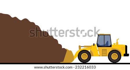 wheel loader pushing dirt - stock vector