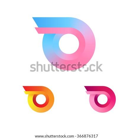 Wheel With Fire Logo. Minimalism Gradient Style Logotype. Vector. - stock vector