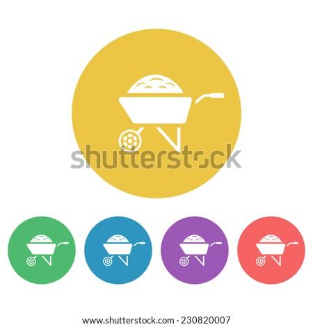 wheelbarrow vector colored round icons - stock vector