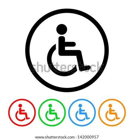 Wheelchair Handicap Icon in Vector Format with Four Color Variations - stock vector