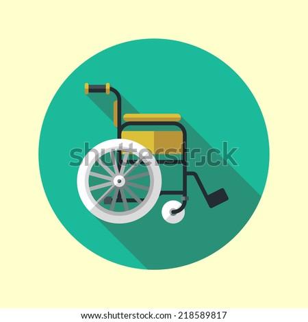 Wheelchair long shadow flat design medical icon. Vector illustration. - stock vector
