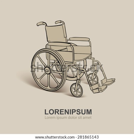 Wheelchair. Vector hand drawn illustration. Vintage background - stock vector