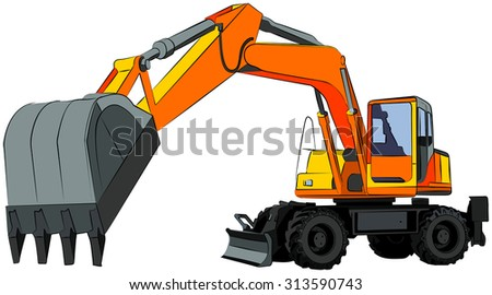 Wheeled excavator, isolated on white, vector illustration - stock vector