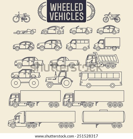 Wheeled vehicles. Transport outline icons set - stock vector