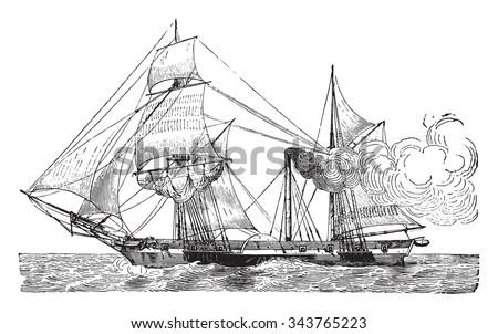 Wheeled Warship, vintage engraved illustration. Industrial encyclopedia E.-O. Lami - 1875. - stock vector