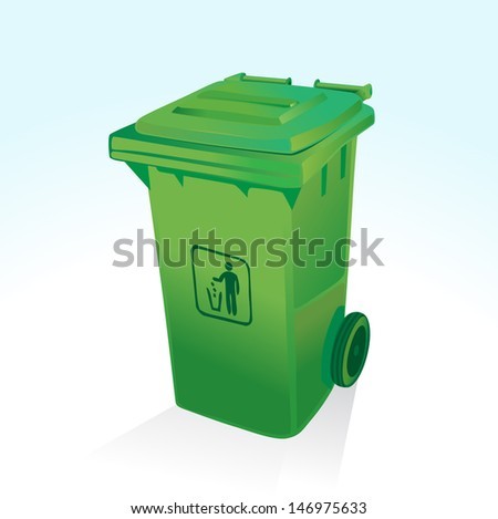 WHEELIE BIN Vectorial image easy to modify. - stock vector