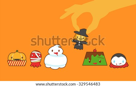 when Halloween monsters to be desserts and handpick witch cookie - stock vector