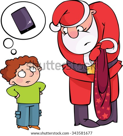 Where is my present?! Kid unhappy with his Christmas present - stock vector
