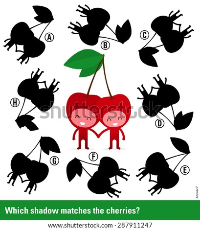 Which shadow - Educational kids puzzle with cute smiling cherry characters surrounded by variations of shadow shapes to select and match to find a solution, vector illustration - stock vector