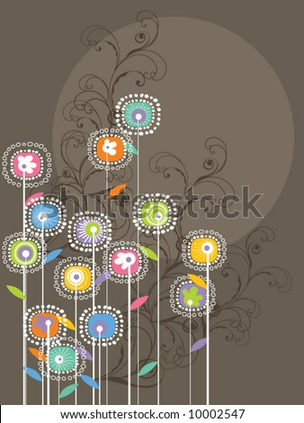whimsical bright flowers and swirls (vector) - stock vector