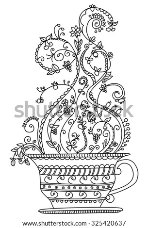 Whimsical cup of fruit tea outline vector isolated - stock vector