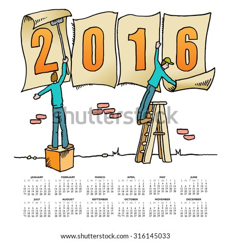 Whimsical drawing 2016 calendar - stock vector