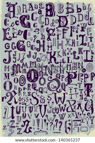 Whimsical Hand Drawn Alphabet Letters, with most common keystrokes: question marks, exclamation points, commas, brackets, stars, etc. - stock vector