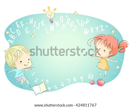 Whimsical Illustration of Kids Surrounded by Letters of the Alphabet - stock vector