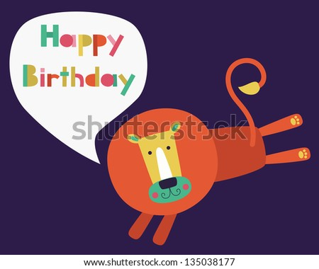 whimsical lion happy birthday card design. vector illustration - stock vector