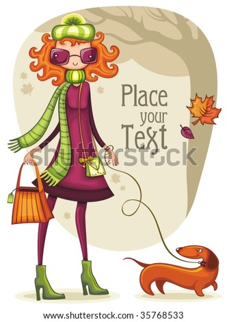 Whimsical shopping girl with dachshund  in the autumn park. To see similar,  please VISIT MY PORTFOLIO - stock vector