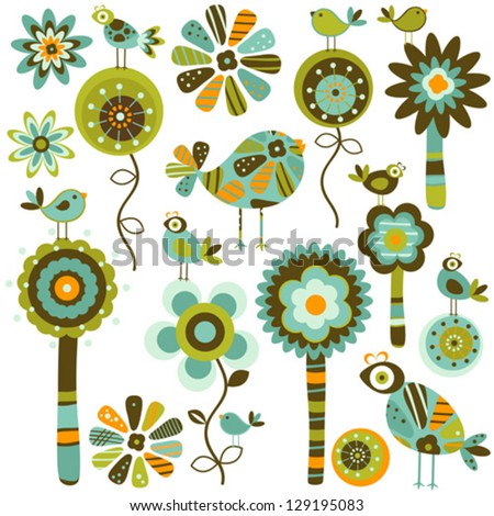 whimsy  flowers and birds - stock vector