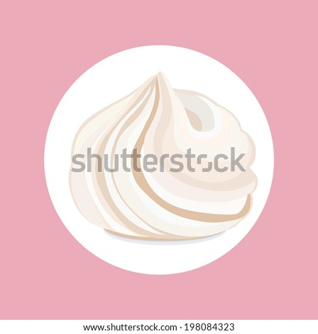 whipped cream swirl isolated flat design - stock vector