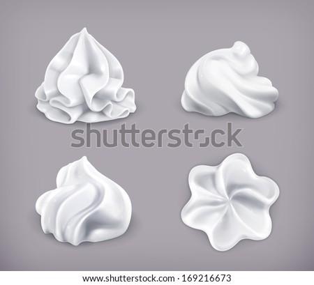 Whipped cream, vector icon set - stock vector