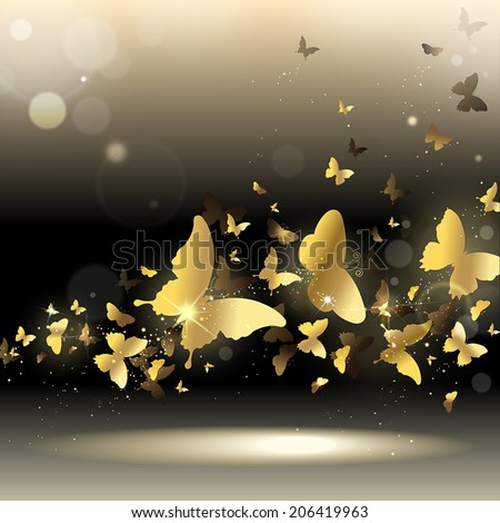 whirlwind of gold butterflies on a dark background - stock vector