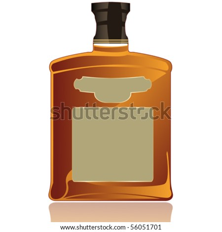 Whiskey bottle and label - stock vector