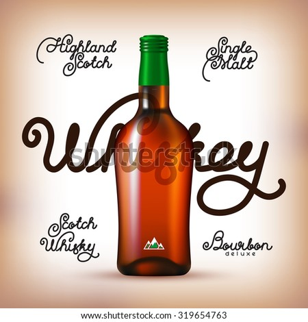 Whiskey bottle and Labels Set. Kinds of whiskey - stock vector