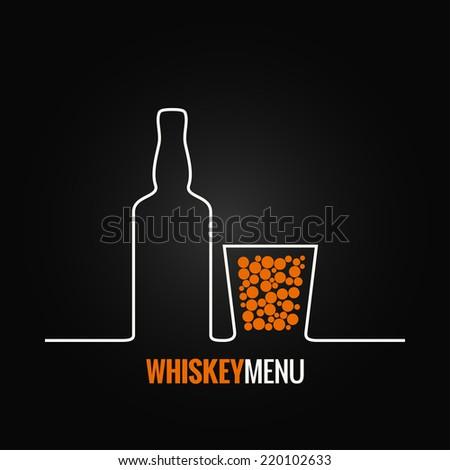 whiskey glass bottle menu background - stock vector