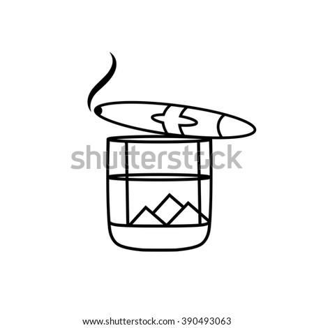 Whiskey glass with ice cubes and cigar - stock vector